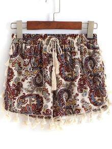 Multicolor Drawstring Waist Cashew Print Tassel Shorts