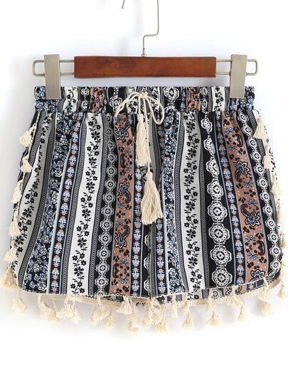 Multicolor Drawstring Waist Tribal Print Tassel Shorts