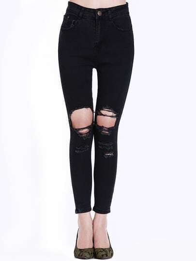 Black Slim Ripped Denim Pant