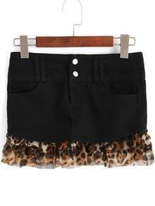 Black Contrast Leopard Print Skirt Shorts