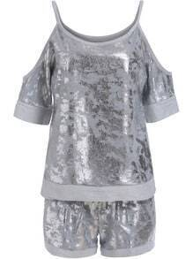 Grey Spaghetti Strap Sparkle Top With Shorts