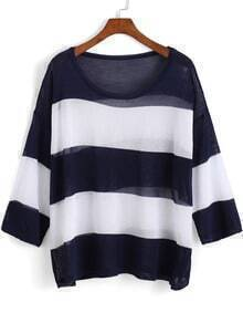 Navy Round Neck Striped Loose Knit Sweater