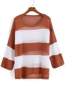 Brown Round Neck Striped Loose Knit Sweater