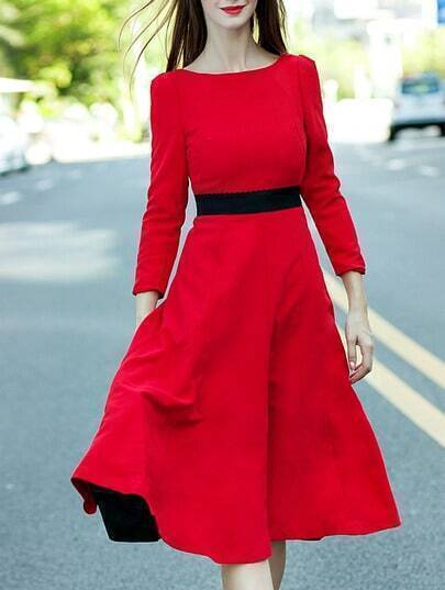 Red Round Neck Length Sleeve Backless Flare Dress