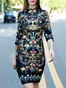 Black Stand Collar Length Sleeve Vintage Print Dress