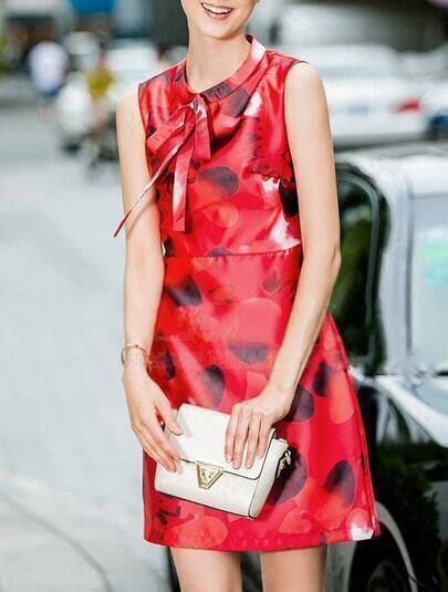 Red Round Neck Sleeveless Bowknot Print Dress