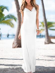 White Sleeveless Backless Maxi Dress