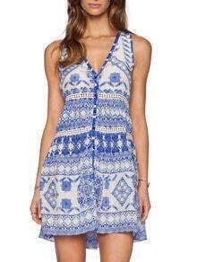 White Sleeveless V Neck Vintage Print Dress