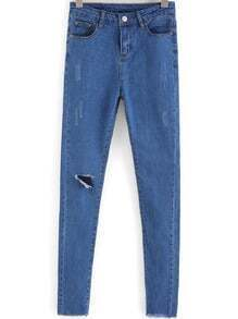Blue Ripped Slim Denim Pant