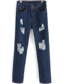 Blue Pockets Ripped Denim Pant