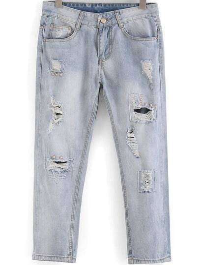 Light Blue Ripped Rivet Denim Pant