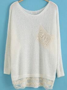 White Long Sleeve Lace Knit Sweater