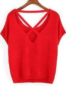 Red Short Sleeve Backless Knit Sweater