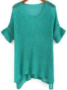 Green Round Neck Hollow Knit Sweater