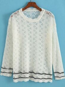 White Long Sleeve Hollow Knit Sweater