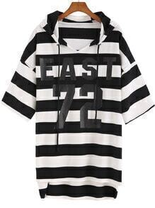 Black White Hooded Striped 72 Print Sweatshirt