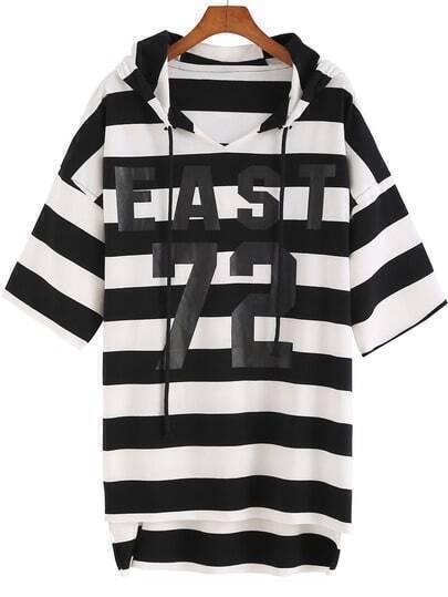 Black White Hooded Striped 72 Print Sweatshirt