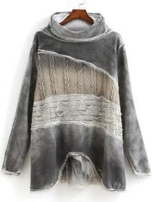 Grey High Neck Long Sleeve Fringe Sweatshirt