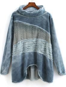 Blue High Neck Long Sleeve Fringe Sweatshirt