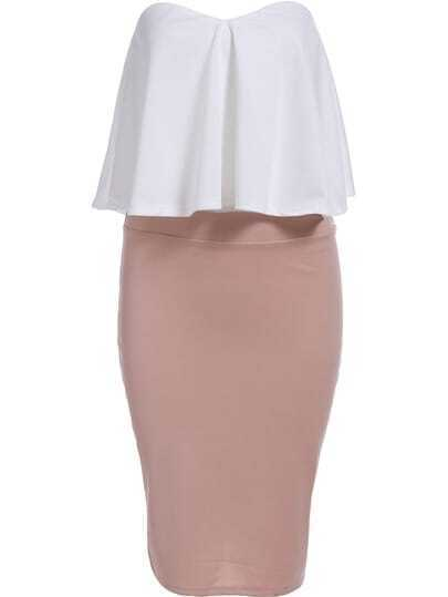 White Strapless Zipper Top With Pink Slim Skirt