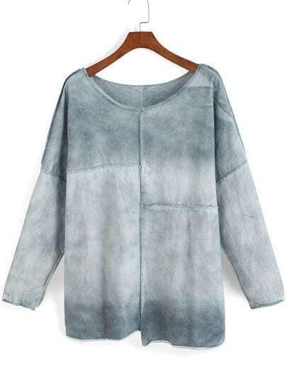 Blue Ombre Long Sleeve Asymmetrical T-Shirt