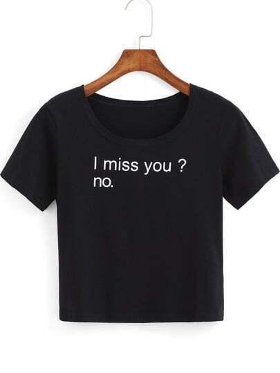 Black Short Sleeve Letters Print Crop T-Shirt