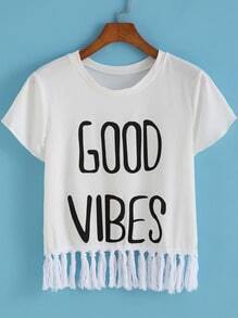 White Round Neck GOOD VIBES Print Tassel T-Shirt