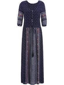 Navy V Neck Tribal Print Maxi Dress