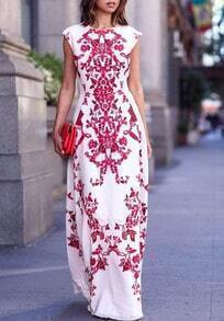 Red White Round Neck Floral Maxi Dress