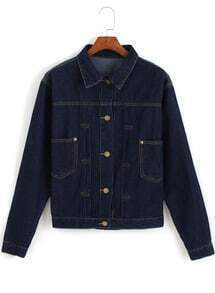Navy Lapel Long Sleeve Pockets Denim Jacket