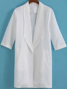 White Lapel Long Sleeve Casual Blazer