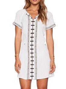 White Short Sleeve V Neck Embroidered Dress