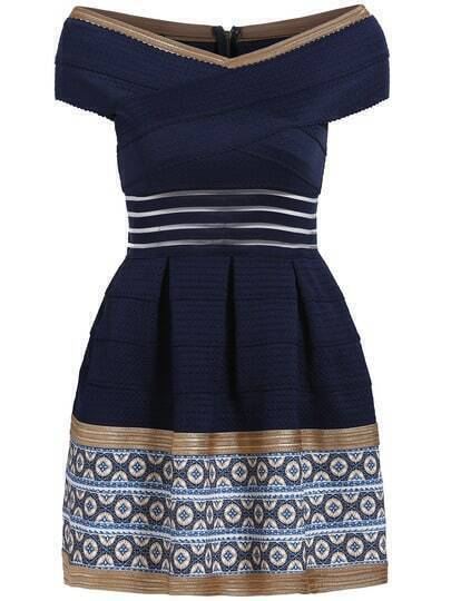 Navy Off the Shoulder V Neck Bandage Dress