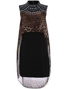 Black Sleeveless Rhinestone Leopard Chiffon Dress