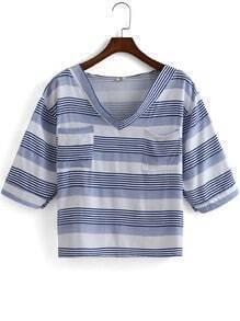 Blue V Neck Striped Pockets Crop T-Shirt