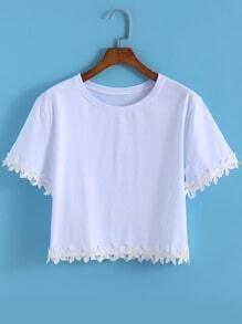 White Round Neck Peplum Hem Crop T-Shirt