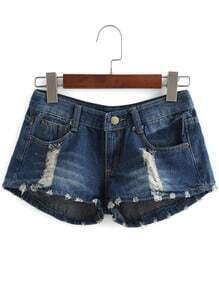 Navy Ripped American Flag Print Denim Shorts