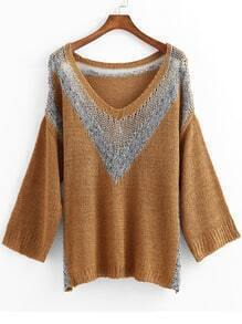 Khaki Long Sleeve Hollow Knit Loose Sweater