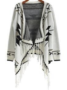 Beige Long Sleeve Snowflake Print Tassel Cardigan