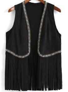 Black Tribal Embroidered Tassel Vest