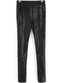 Black Slim Sequined Leggings