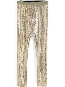 Gold Slim Sequined Leggings