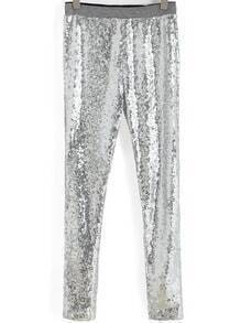 Silver Slim Sequined Leggings