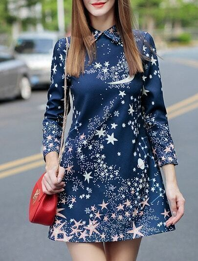 Navy Lapel Length Sleeve Star Print Dress