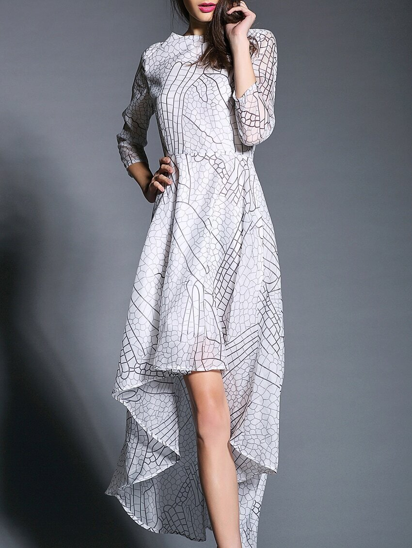 White Round Neck Length Sleeve High Low Print Dress