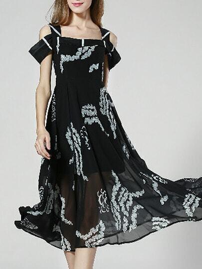 Black Spaghetti Strap Off The Shoulder Backless Print Dress