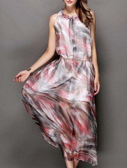 Multicolor Stand Collar Sleeveless Drawstring Print Dress