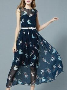 Navy Round Neck Sleeveless Drawstring Bird Print Dress