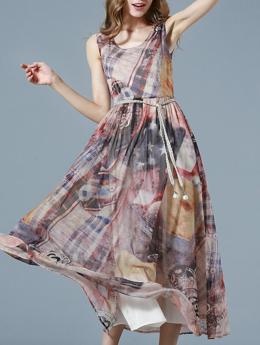 Multicolor Round Neck Sleeveless Drawstring Print Maxi Dress