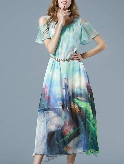 Blue Spaghetti Strap Off The Shoulder Drawstring Peacock Print Dress